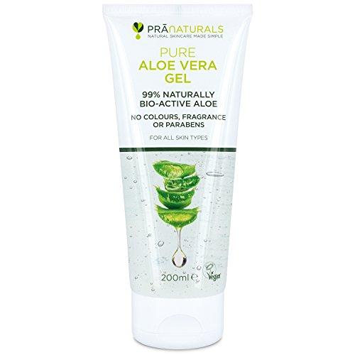 Pranaturals aloe vera gel 200 ml, gel lenitivo & idratante nutriente, idrata danneggiato pelle,...