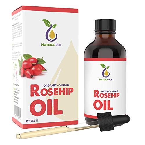 Olio di Rosa Mosqueta BIO 120ml - 100% naturale, spremuto a freddo, vegano - Rosehip Oil per viso,...