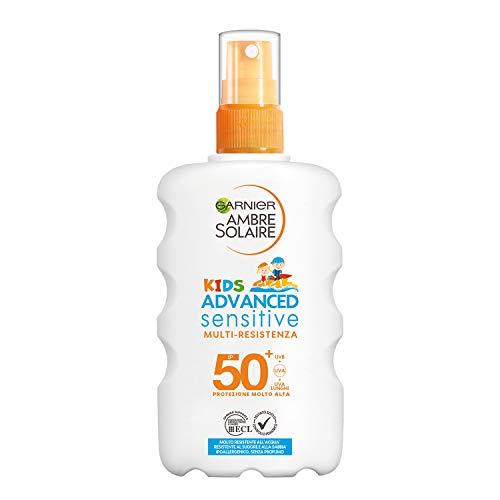Garnier Ambre Solaire Spray Protettivo IP 50+ Advanced Sensitive Kids, Protezione Molto Alta,...