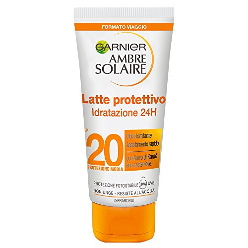 Garnier Ambre Solaire Protezione Solare, Latte Protettivo Ultra-Pratico, Formato da Viaggio,...