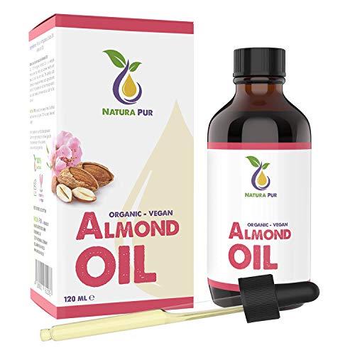Olio di Mandorle Dolci Puro 120 ml – 100% BIO, naturale, spremuto a freddo, bio, vegano – siero...
