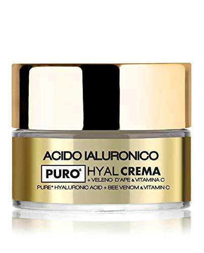 Crema viso HYAL con acido ialuronico puro a doppio peso molecolare, Veleno d'Ape e Vitamina C,...
