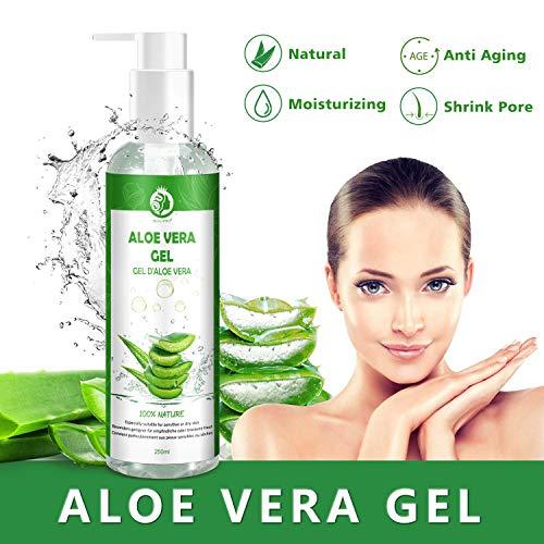 Aloe Vera Gel Puro 100% Gel Aloe Vera - Gel di Aloe Vera Naturale per Viso, Corpo, Mani e Capelli...