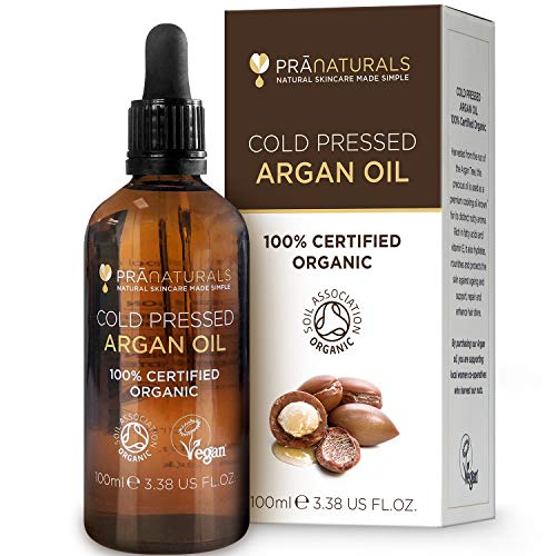 PraNaturals Olio di argan del Marocco 100% biologico per capelli, viso e corpo – Naturale, puro e...